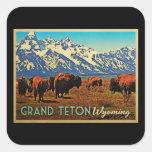 Grand Teton Wyoming Buffalo Square Sticker