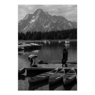 Grand Tetons and Canoes Poster