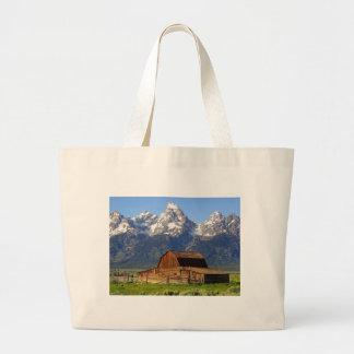Grand Tetons Barn Large Tote Bag