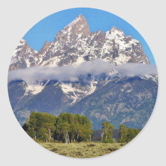 Grand Tetons Peaks In The Morning Classic Round Sticker