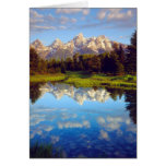 Grand Tetons reflecting in the Snake River Greeting Card