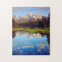 Grand Tetons reflecting in the Snake River Jigsaw Puzzle
