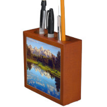 Grand Tetons reflecting in the Snake River Pencil Holder