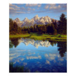 Grand Tetons reflecting in the Snake River Poster