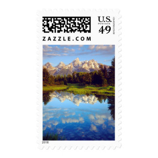 Grand Tetons reflecting in the Snake River Stamp