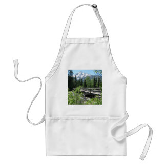Grand Tetons Spring Snow and Wood Bridge Adult Apron