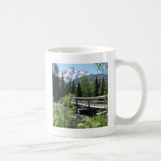 Grand Tetons Spring Snow and Wood Bridge Coffee Mug