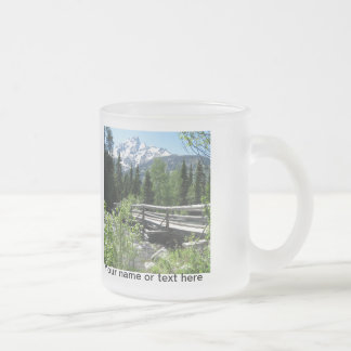 Grand Tetons Spring Snow and Wood Bridge Frosted Glass Coffee Mug