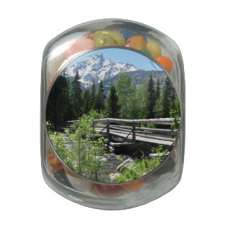 Grand Tetons Spring Snow and Wood Bridge Glass Candy Jars