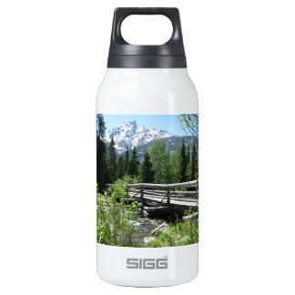 Grand Tetons Spring Snow and Wood Bridge Insulated Water Bottle