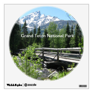 Grand Tetons Spring Snow and Wood Bridge Wall Sticker