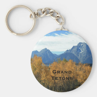 Grand Tetons With Aspens Basic Round Button Keychain