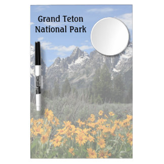 Grand Tetons With Snow and Spring Flowers Dry-Erase Board
