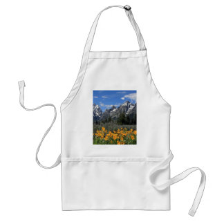 Grand Tetons with Yellow Flowers Adult Apron
