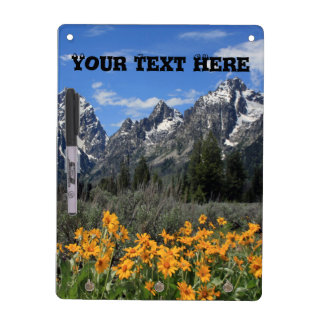 Grand Tetons with Yellow Flowers Dry-Erase Whiteboards