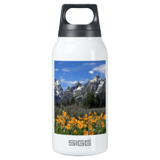 Grand Tetons with Yellow Flowers Insulated Water Bottle