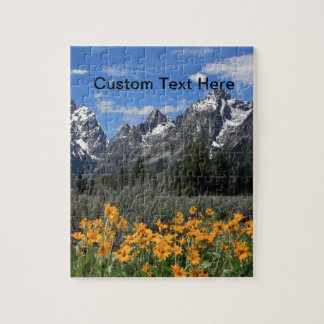 Grand Tetons with Yellow Flowers Jigsaw Puzzle