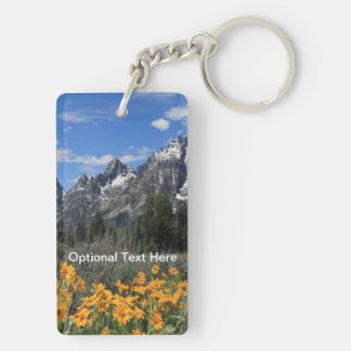 Grand Tetons with Yellow Flowers Keychain