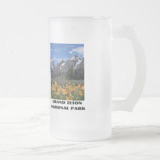 Grand Tetons with Yellow Flowers Glass Beer Mug