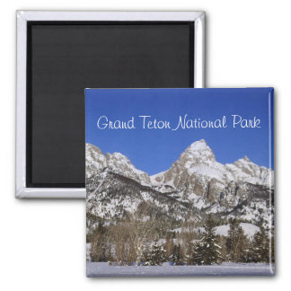 Grand Tetons, WY Winter 2 Inch Square Magnet