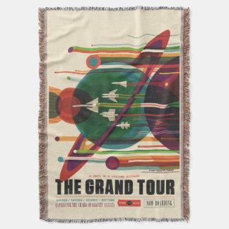 Grand Tour Retro NASA Travel Poster Throw Blanket