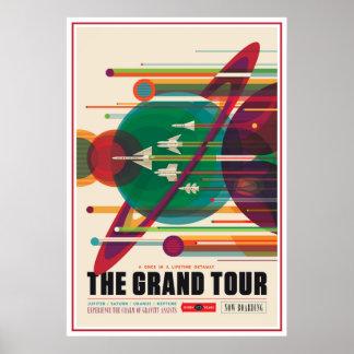 Grand Tour Space Exploration Illustration Poster