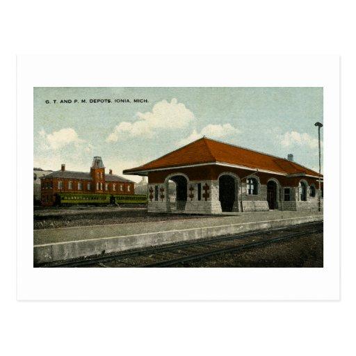 Grand Trunk and Pere Marquette Depots, Ionia, MI Post Card