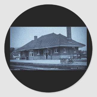 Grand Trunk Depot Pontiac Michigan (Cyan) Classic Round Sticker
