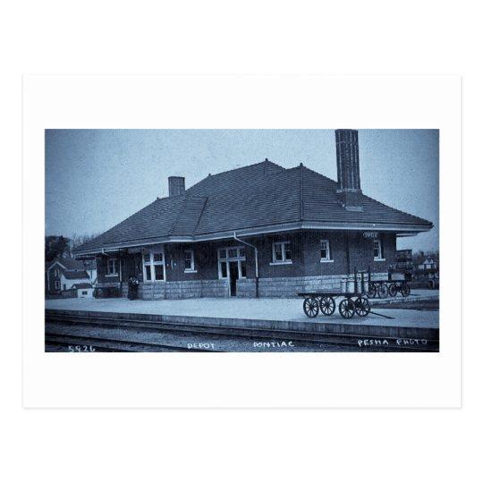 Grand Trunk Depot Pontiac Michigan (Cyan) Postcard