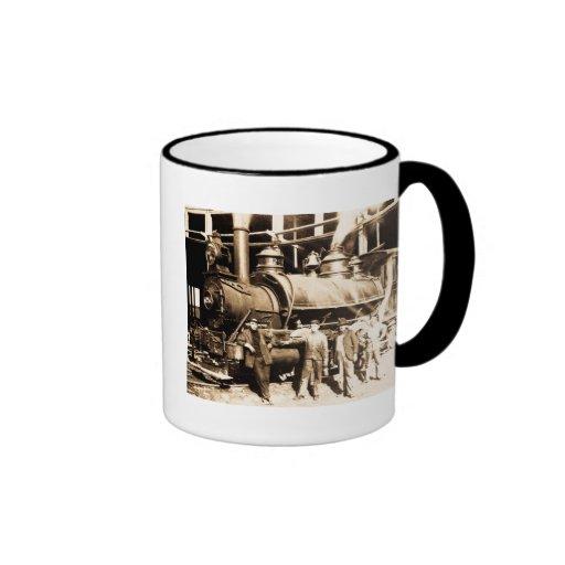Grand Trunk Railroad Shop & Crew  - Vintage Ringer Coffee Mug