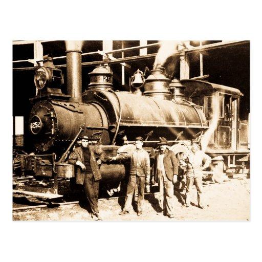 Grand Trunk Railroad Shop & Crew  - Vintage Postcard