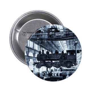 Grand Trunk Railroad Shops circa 1910 - Cyanotype 2 Inch Round Button