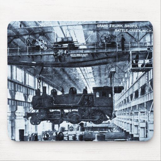 Grand Trunk Railroad Shops circa 1910 - Cyanotype Mouse Pad