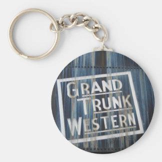 Grand Trunk Western Railroad Steam Engine Basic Round Button Keychain
