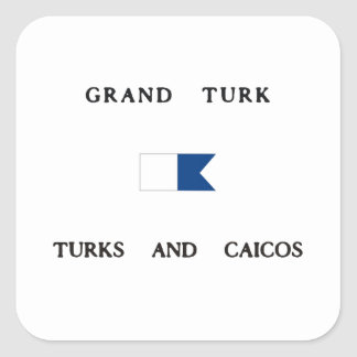 Grand Turk Turks and Caicos Alpha Dive Flag Square Sticker