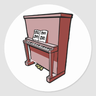 grand upright piano with music.png classic round sticker