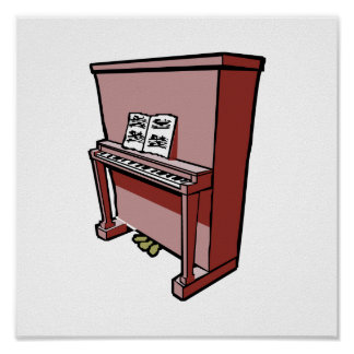 grand upright piano with music.png poster