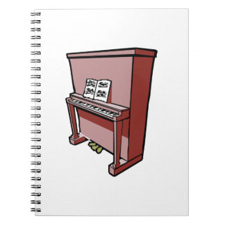 grand upright piano with music.png spiral notebook