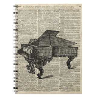Grand Vintage Piano Stencil Over Old Book Page Notebook