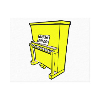 grand yellow upright piano with music.png canvas print