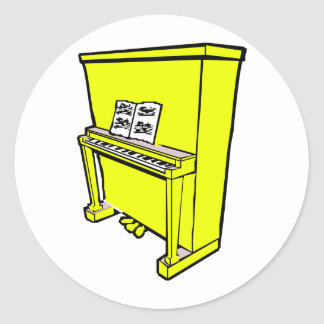 grand yellow upright piano with music.png classic round sticker