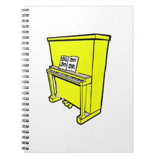 grand yellow upright piano with music.png spiral notebook