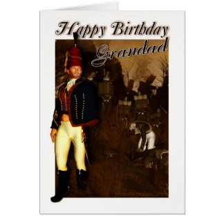 Grandad Birthday Card - 1822 Hussar Officer And Fo