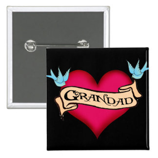 Grandad - Custom Heart Tattoo T-shirts & Gifts 2 Inch Square Button