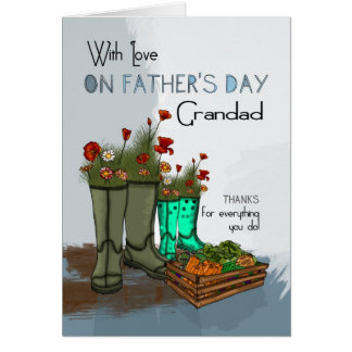 Grandad Father's Day Greeting Card With Rain Boots