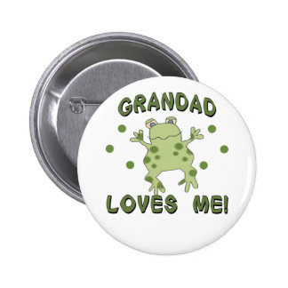 Grandad Loves Me Frog Pinback Button