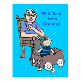 Grandad loves me post card