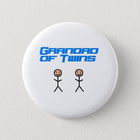 grandad of twins pinback button