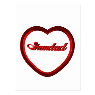 Grandad Red Heart Frame Postcards