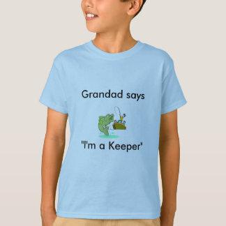 Grandad Says I'm a Keeper Kids Fishing T-Shirt